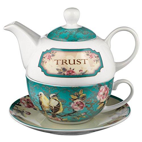 Teekanne aus Keramik | Trust In the Lord – Sprichwörter 3:5 | Vögel und Blumen Tee für eine Person Set mit Teetasse und Untertasse