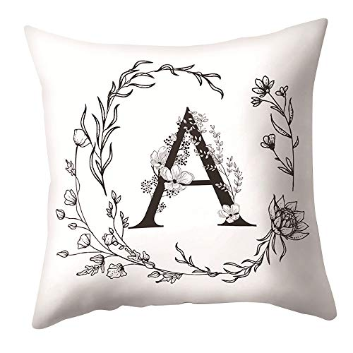 Rosepoem Funda de almohada suave con letra del alfabeto Funda de cojín personalizable, diseño floral, 45 x 45 cm, para cama sofá o decoración del hogar A
