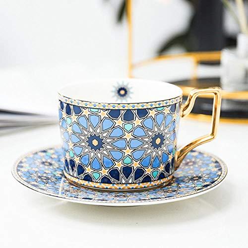 QIANHUA Juego de Taza y platillo de café marroquí Estilo británico con Taza de té de la Tarde de Capuchino de cerámica de Oro Handel 250 ml, Marruecos E