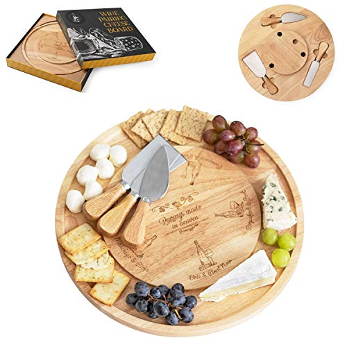 Permaggio - Tabla de queso para emparejamiento de vino, de goma, respetuosa con el medio ambiente, bandeja giratoria de madera con cubiertos en un espacio de almacenamiento oculto