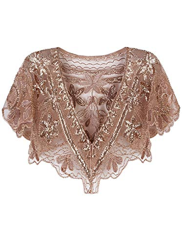 Vijiv Womens Vintage 1920s Evening Capelet Shawl Shrug Inspired Beaded Sequin Gatsby Flapper Bolero Cover Up