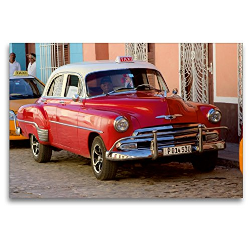 CALVENDO Premium Textil-Leinwand 120 cm x 80 cm Transversal, Chevrolet Oldtimer en Cuba š Wandbild, Imagen en Keilrahmen, Fertigbild en verdadera Lienzo, Leinwanddruck Mobilitaet Mobilitaet