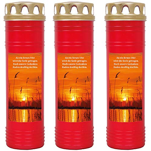 HScandle Grabkerze - 3er Pack - (Rot) Grablicht ca. 7 Tage Brenndauer je Kerze - Motiv: Ufer