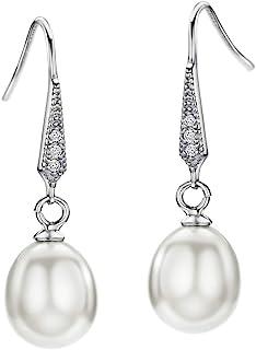 Nouveau 925 Sterling Silver Dangle Long Bâton Freshwater Pearl Leverback Boucles D/'oreilles