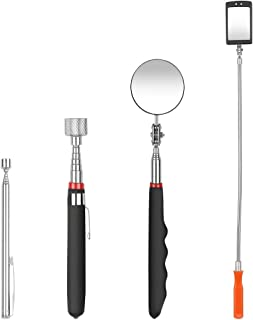 4PCS Magnetic Pick-up Telescoping Grabber Tool Kit, ASKCUT Telescoping Handle 1.5 lb/10 lb Pick Up Round/Square 360 Swivel Inspection Mirror Set with LED Light for Extra Viewing Pickup