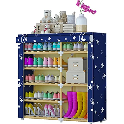 Zapatero 5 niveles de almacenamiento de zapatos Organizador de almacenamiento portátil doble fila con cubierta de tela no tejida Gabinete de estante para zapatos para el armario de entrada Caja de zap