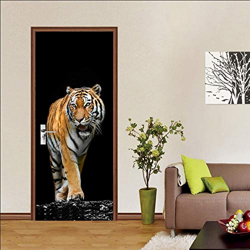 Door stickers and wall stickers, self-adhesive, waterproof and removable, home decoration wallpaper mural, tiger