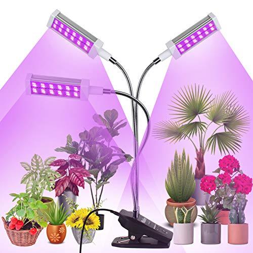 Railee Lámpara de Plantas, 72W 144 LED 3 Cabezales Lámpara de Crecimiento Luz para Plantas Interruptor Temporizador Auto 3/6/12H Regulable 360° para Siembra en Crecimiento, Germinación y Floración