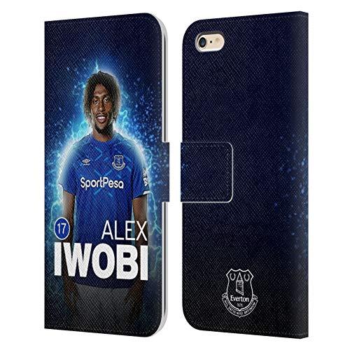 Head Case Designs Licenciado Oficialmente Everton Football Club Alex Iwobi 2019/20 Primer Equipo Grupo 1 Carcasa de Cuero Tipo Libro Compatible con Apple iPhone 6 Plus/iPhone 6s Plus