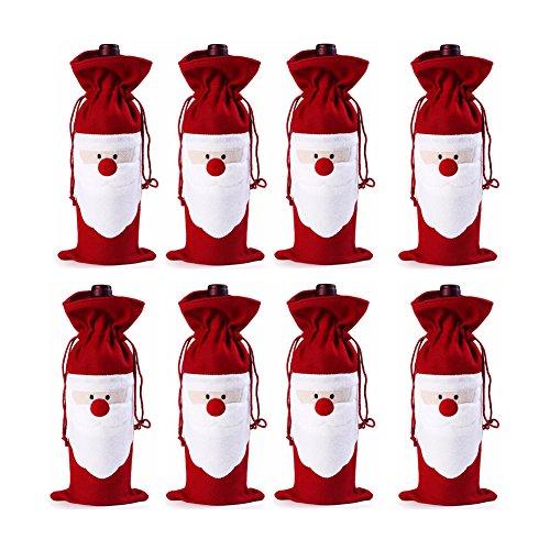 Keysui 8pcs Weihnachten Santa Wein Flasche Tasche mit Kordelzug Beutel Geschenkverpackung für Weihnachten Party Dekoration