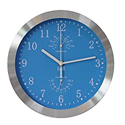 hito Modern Silent Wall Clock Non Ticking 10 inch Excellent Accurate Sweep Movement Silver Aluminum Frame Glass Cover, Decorative for Kitchen, Living Room, Bedroom, Bathroom, Bedroom, Office (Blue)