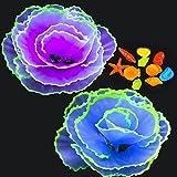 Livfodrm 12 piezas Decoraciones de acuario para pecera decoración de acuario, adornos de coral de flores de coral de silicona efecto brillante conchas Piedra luminosa