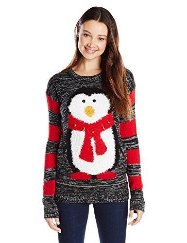 Derek Heart Junior's Penguin with Jingle Bells Ugly Christmas Sweater, Black, Medium