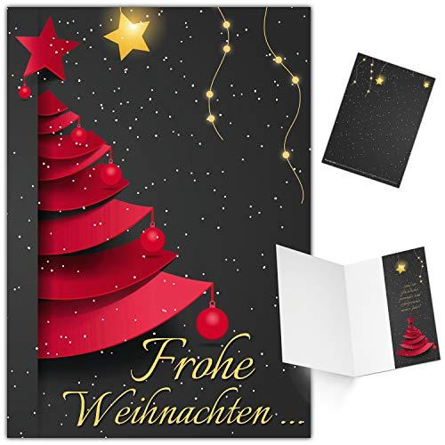 25er XL-Set WEIHNACHTSBAUM Weihnachtskarten zum Aufklappen - edle Klappkarten ideal privat & geschäftlich - Frohe Weihnachten Karten von BREITENWERK