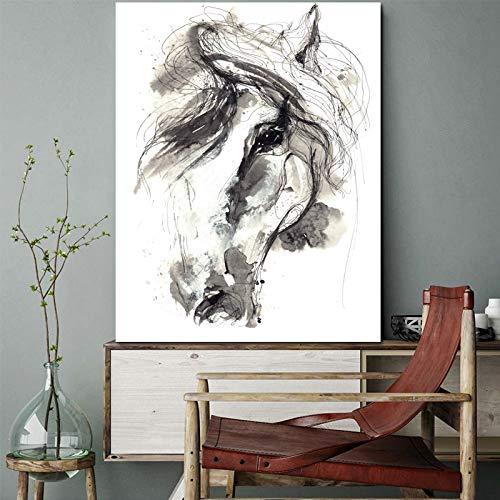 Schetsen tekening canvas kunstdruk op de muur wooncultuur abstract paard dier afbeelding olieverfschilderij woonkamer decoratie 60X100CM Q