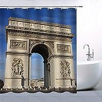 凱旋門スペクタキュラーアーキテクチャー浴室の窓の装飾のための生地のホックが付いているポリエステル防水シャワー・カーテン60X72in