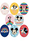 8 Parches termoadhesivos para la ropa. Apliques serigrafiados para planchar sobre camisetas, bata escolar, jeans, chaquetas. Diseño personajes Disney Mickey y Minnie - REF.6888-U8