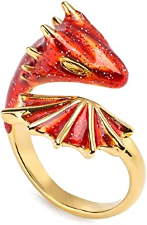 X-NOMIY Triceratops Open Ring, Adjustable Black Knight Dragon Brass Gold-Plated Ring, Accessories for Men and Women