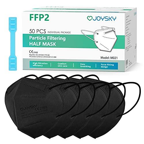 JOYSKY Mascarillas Faciales Desechables FFP2, Paquete individual de 50pcs Mascarillas de Protección de 5 Capas de color negro, Mascara de Filtración Multicapa Antipolvo