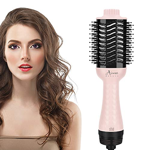 Hair Dryer Brush,Aima Beauty One Step Hair Dryer and Styler Volumizer with Negative Ion for Reducing Frizz and Static, Pink