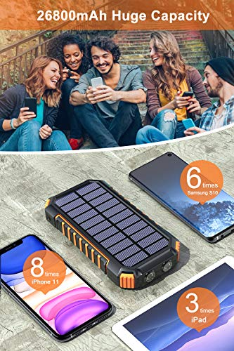 Solar Charger 26800mAh, Hiluckey Wireless Portable Charger Qi Power Bank with 4 Outputs & LED Flashlight, USB C Quick…