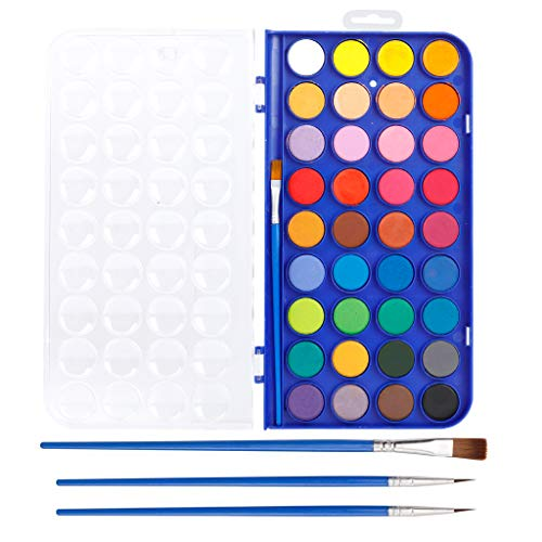 36 Pack Watercolor Pan Set, Smart Color Art Watercolor Paint Set with 4 Brushes,Easy to Blend Colors, Perfect for Kids Adults