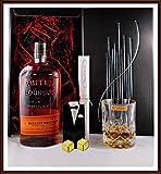 Geschenk Bulleit Bourbon Frontier Whiskey + 2 Original Edelstahl Kühlsteine, goldfarbend, im...