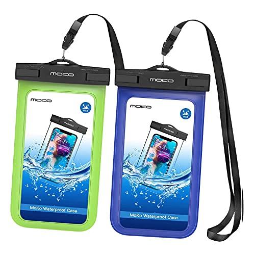 MoKo Funda Impermeable Universal, [2PZS] IPX8 Bolsa Estanca Móvil con Brazalete y Correa del Cuello parai-Phone 12 Mini/12/12 Pro/X/XS/XR/XS MAX/Galaxy S21/S10/S10 e/Pixel 4/Pixel 4 XL, Azul+Verde