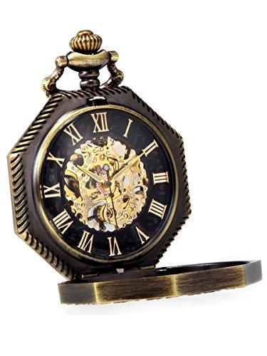 Alienwork Reloj de Bolsillo Mecánico Relojes Hombre Mujer Bronce marrón Oro Esqueleto Retro