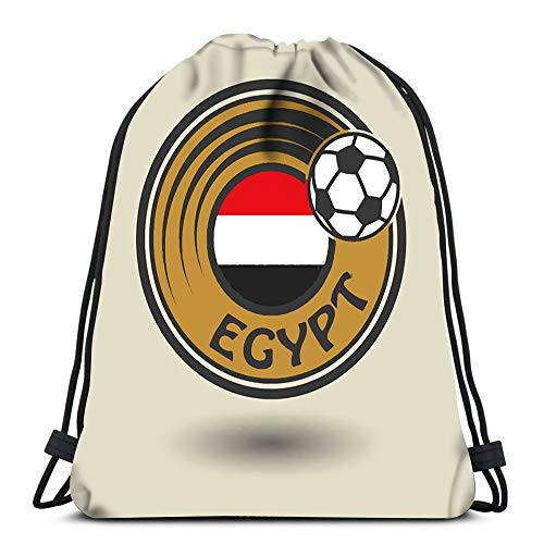 Drawstring Backpack Sport Bags Cinch Tote Bags Stamp Or Label with Word Egypt Football Theme for Traveling and Storage