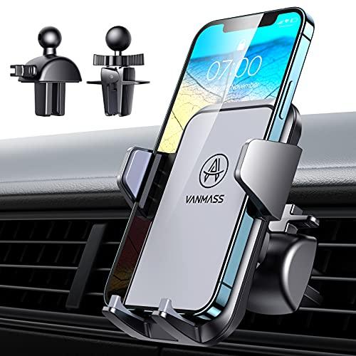 VANMASS Kfz Handyhalterung Auto Lüftung Bombenfest mit 2 Upgrade Lüftungsclips Universal Handyhalter fürs Auto 100% Silikonschutz 360° Drehbar für Alle Handy & Auto Sowie iPhone Samsung Huawei Xiaomi