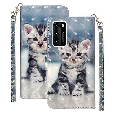 Ancase Handyhüllen für Samsung Galaxy S6 Hülle mit Kartenfach Lederhülle Schutzhülle Flip Case Klapphülle Tasche 3D Glitzer Cover - Katze
