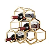 ZBHJJ - Botellero de acero inoxidable para 6 botellas de vino, diseño de metal forjado, color dorado
