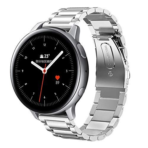 SUNDAREE Compatible con Correa Galaxy Watch Active2 42MM/44MM,20MM Metal Acero Inoxidable Reemplazo Correas Banda Pulseras de Reloj Inteligente para Samsung Galaxy Watch Active 2(Active2 Silver)
