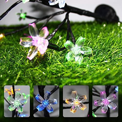 Sillor Lighting for Garden,Multicolor Light Solar Sakura Night Lamp Outdoor Flexibility Waterproof Lawn Decorative Lamp,2Pcs (Multicolor, 2Pcs)