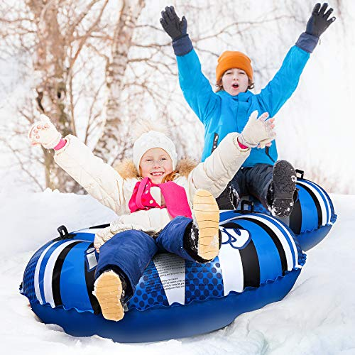Byedog Inflatable Snow Tube Heavy Duty Snow Sleds for Kids and Adults Skiing Ring PVC Snow Sled Tire Tube for Winter Fun Skiing Ring PVC Snow Sled Tire Tube 31inches Winter Snow Tube with Handle