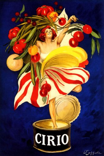 "CIRIO ITALIAN CANNED FOOD COMPANY WOMAN HOLDING VEGETABLES IN CAN ITALY CAPPIELLO 16"" X 24"" IMAGE SIZE VINTAGE POSTER REPRO"