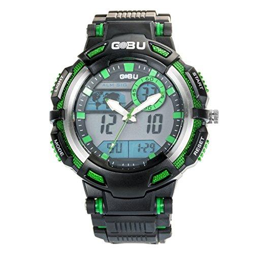 GOBU 1538-Orologio sportivo multifunzione a Led multicolore, LAnalog Orologio sveglia digitale, impermeabile, resistente all'acqua, con sveglia, Timer/Cronometro Cronografo da uomo
