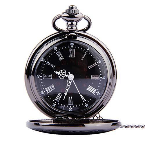 Relógio de bolso vintage romano com algarismos árabes clássicos e pingente de relógio de bolso UKCOCO para presente de aniversário de dia dos pais (corrente espessa)