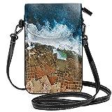 Un tiro aéreo de las sartenes de sal en Marsaskala Malta ligero pequeño bolso bandolera para teléfono celular monedero para mujeres y niñas con práctico transporte