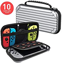 MEQI Nintendo Switch Carrying Case Protective Hard Shell Slim Travel Carry Case -10 Game Cartridge Holders Portable Carry Case Pouch for Nintendo Switch Console & Accessories - Silver