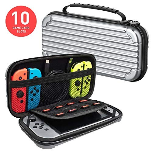 MEQI Carrying Case Compatible with Nintendo Switch - Protective Hard Shell Slim Travel Carry Pouch -10 Game Cartridge Holders Portable Game Case for Nintendo Switch Console & Accessories - Silver