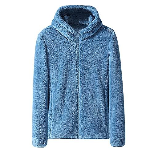 Sudadera con capucha con cremallera para mujer de doble cara de forro polar coral color sólido manga larga cremallera chaqueta Outwear Wancooy, azul, 4XL