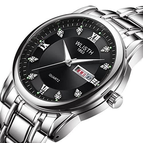 GDHJ Relojes de moda para hombre Relojes retro para jóvenes Casual Negocios Movimiento de cuarzo Acero Banda Reloj 3ATM Impermeable Dual Calendario Luminoso Reloj Negro 2
