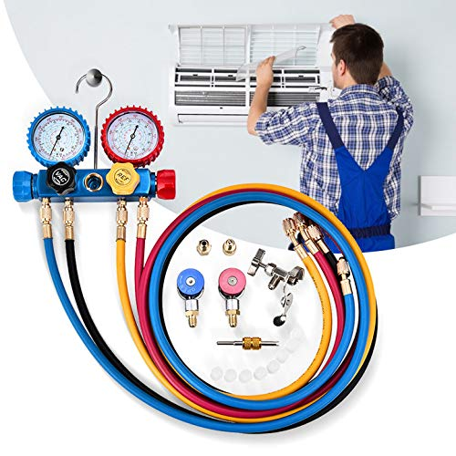 4YANG Kältemittel Manifold Gauge Set 4-Wege-Wechselstrom Kombiinstrument Für Kältemittel R134A R410A und R22 für Diagnose-Verteiler Klimaanlage zum Laden und Evakuieren von Freon-Vakuumpumpen