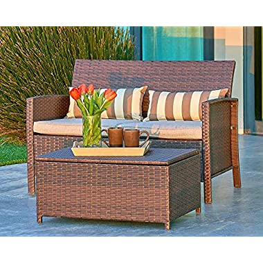 Suncrown Outdoor Modular Furniture Wicker Love-seat Coffee Table (2-Piece Set) Built-in Storage Bin | Comfortable, All-Weather Cushions | Patio, Backyard, Porch, Garden, Poolside