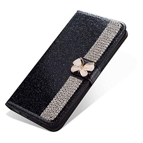 Nadoli Leder Hülle für Huawei Y6P,Bling Glitzer Diamant 3D Handyhülle im Brieftasche-Stil Schmetterling Kette Flip Schutzhülle Etui für Huawei Y6P,Schwarz