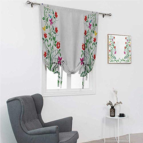 GugeABC Curtains Blackout Flower Roman Blinds for Window Oriental Design with Floral Leaves Buds Frame Like Ivy Plant Ecology Natural Image 39' Wide by 64' Long Multicolor