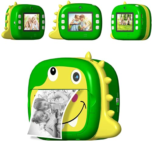 NiCuZnGa WiFi Instant Print Camera for Kids, Dual Lens Selfie Digital Camera Portable Rechargeable 1080P Video Camcorder Players Toys Gifts for Boys and Girls with 32G Card and Paper Films(Green)