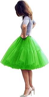 Shinningstar Lady's Princess Tutu Tulle Midi Knee Length Skirt Free Size Underskirt
